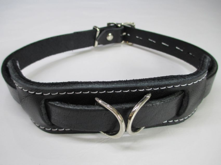 English Bridle leather Duty leather locking play collar, with double front dee feature,
